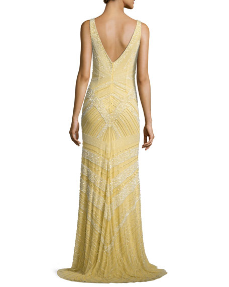 Deco Sequin & Beaded Gown, Dijon