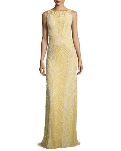 Deco Sequin & Beaded Gown, Dijon