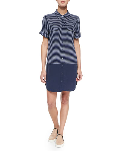 Short-Sleeve Slim Signature Silk Shirtdress, Navy/Bright White