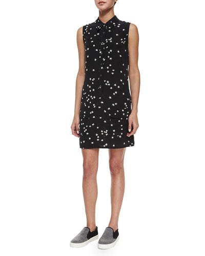 Lucida Sleeveless Star-Print Silk Shirtdress, Black