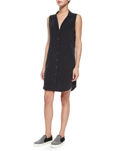 Adalyn Sleeveless Silk Shirtdress, Black