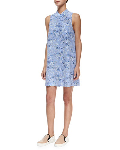 Sleeveless Mina Floral Shirtdress, Amparo Blue/Multicolor