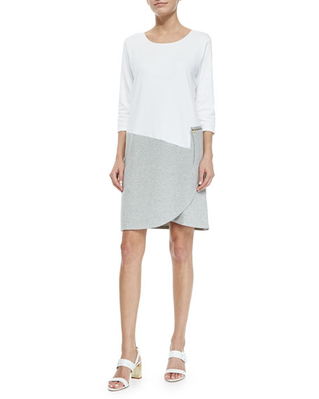 Joan Vass 3/4-Sleeve Colorblock Dress, White/Heather Gray, Petite