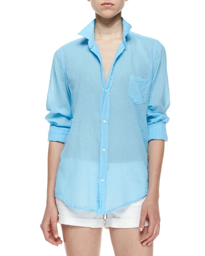 Barry Long-Sleeve Button-Front Blouse, Blue