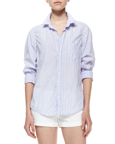 Limited Edition Barry Long-Sleeve Striped Blouse, Blue/Mint
