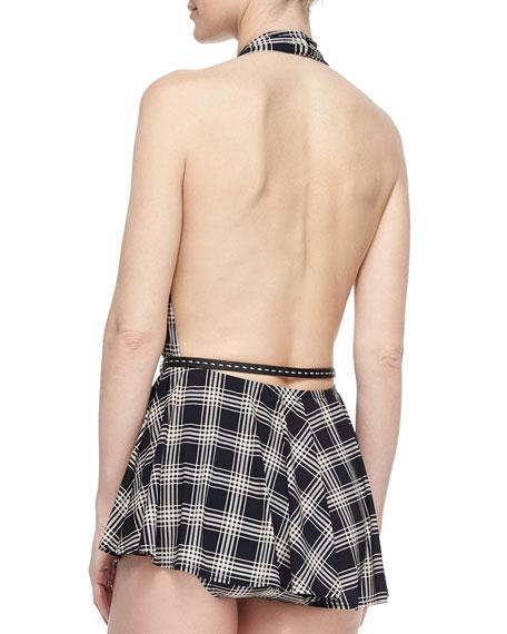 Sedona Plaid Skirted One-Piece Swimsuit