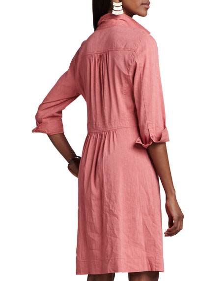 3/4-Sleeve Linen-Blend Shirtdress, Petite