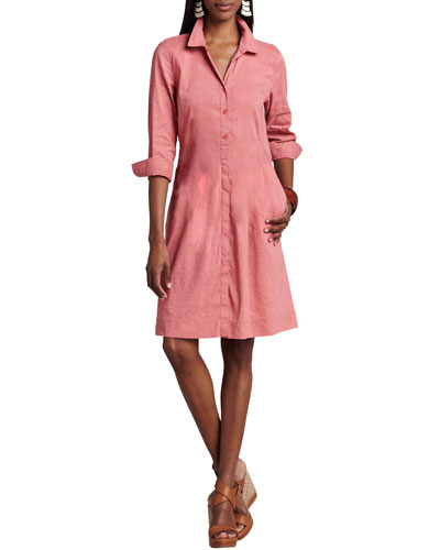 3/4-Sleeve Linen-Blend Shirtdress, Women's