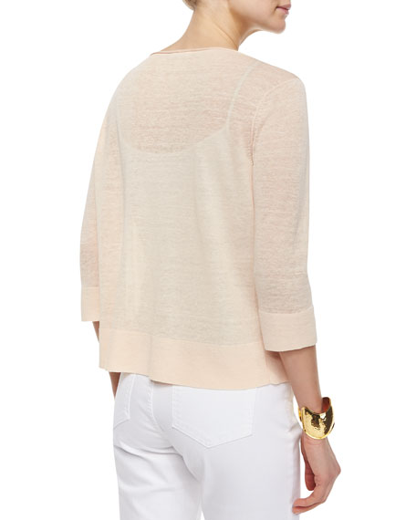 3/4-Sleeve Fine Linen Top