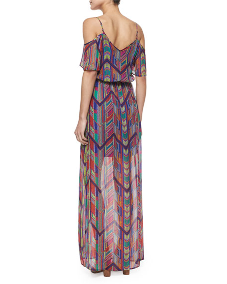 Chevron-Print Maxi Dress, Rojo