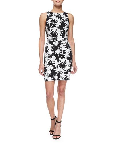 Sleeveless Palm-Print Back-Cutout Dress