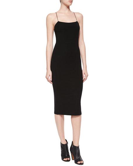 Stretch Cutout-Back Tank Dress, Black