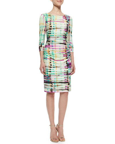 Ruched-Front Sheath Dress, Multi