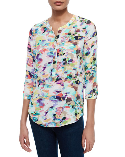 3/4-Sleeve Printed Pleated-Back Blouse