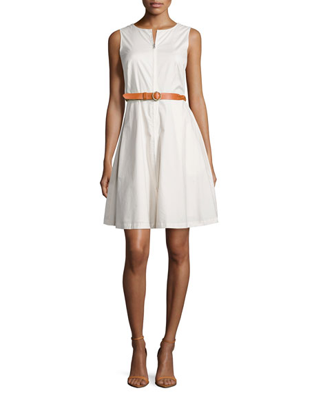 Theory Gralista Belted Stretch Poplin Dress
