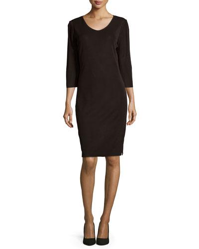 Three-Quarter-Sleeve Shift Dress, Petite
