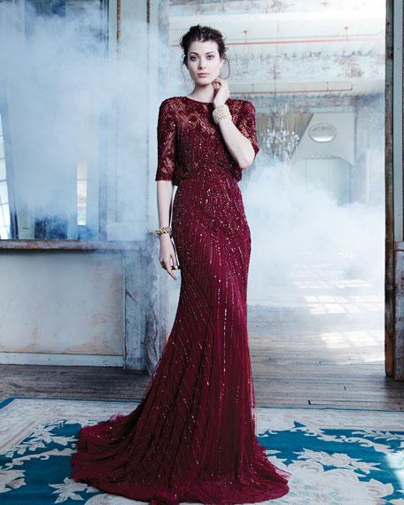 Rosette-Detailed Chevron Beaded Gown