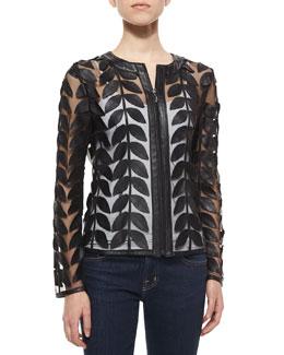 Leather Leaf Mesh Jacket, Black
