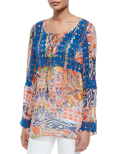 Paisley-Print Tunic w/ Embroidery