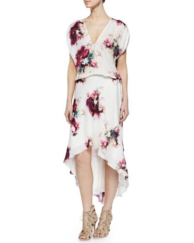 Floral-Print Silk Drawstring Dress