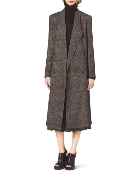 Smudged Plaid Overcoat