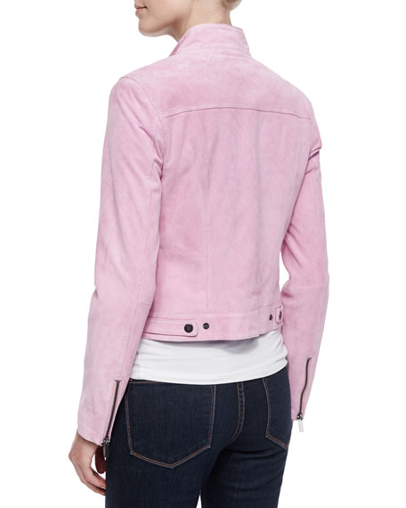 Suede Jean-Style Jacket, Pink