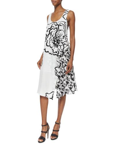 Sleeveless Floral-Print Trapeze Dress