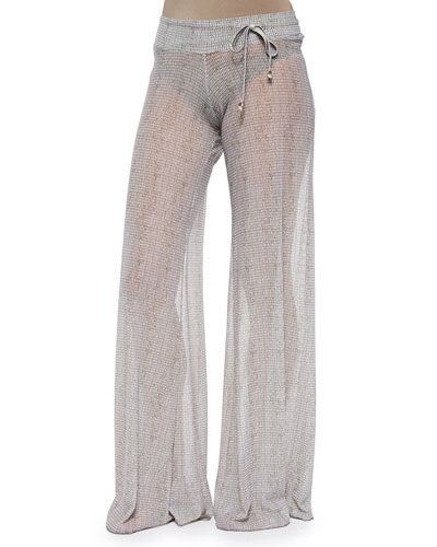 Coconut Husk Wide-Leg Coverup Pants