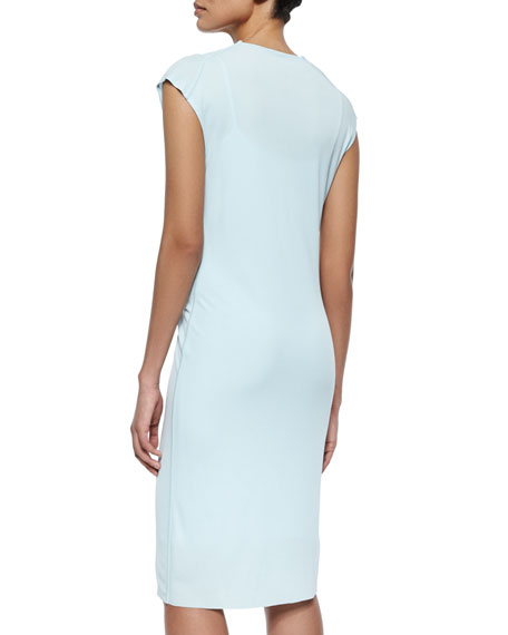Linden Draped Jersey Sheath Dress