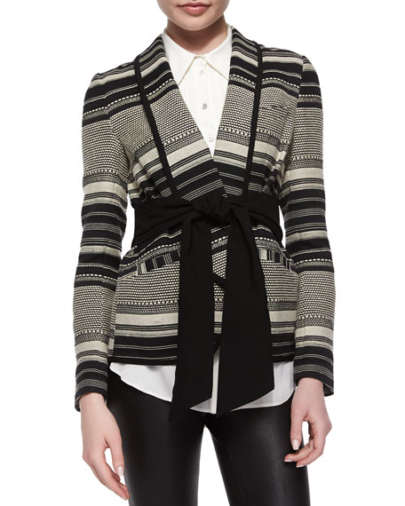 Marissa Webb Brighton Tie-Waist Striped Jacket