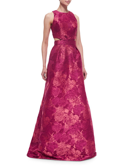 Theia Floral-Jacquard Ball Gown, Rouge