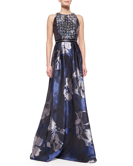 Carmen Marc Valvo Beaded-Bodice Floral Evening Gown, Midnight