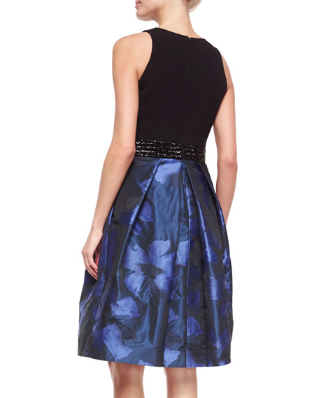 Carmen Marc Valvo Sleeveless Knit-Top Floral-Jacquard Cocktail Dress