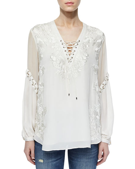 Floral-Embroidered Silk Peasant Blouse