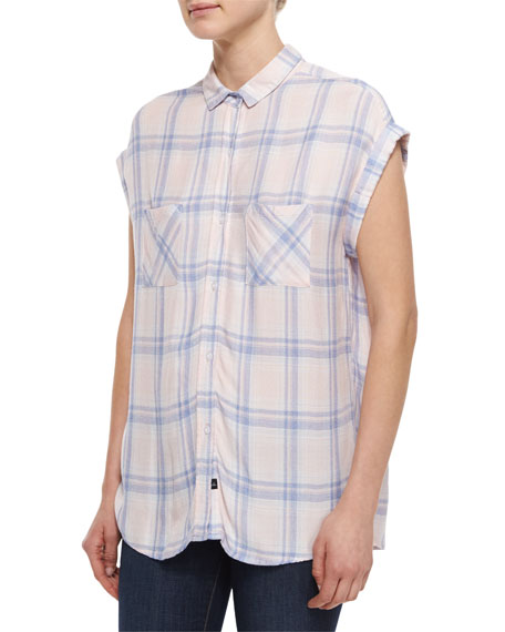 Britt Plaid Cap-Sleeve Blouse, Pink/Blue Melange