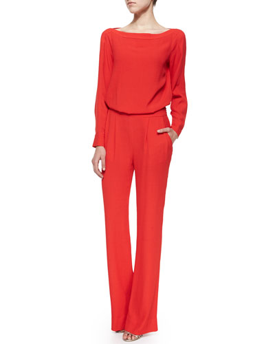 Cynthia Long-Sleeve Jumpsuit, Poppy