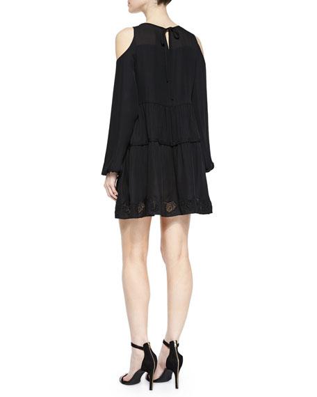 Silk Cold-Shoulder Peasant Dress, Black