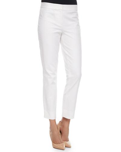 Gennifer Cropped Skinny Pants, White