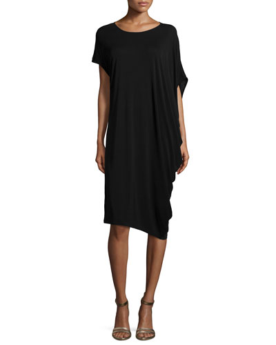Silk Jersey Asymmetric Dress, Petite