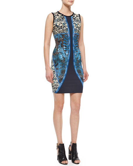 Roberto Cavalli Tapestry-Print Sleeveless Jersey Dress