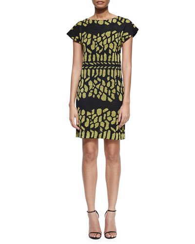 Cap-Sleeve Graphic Jacquard Sheath Dress