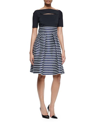 Striped Slit-Bodice Half-Sleeve Dress, Black/Multi