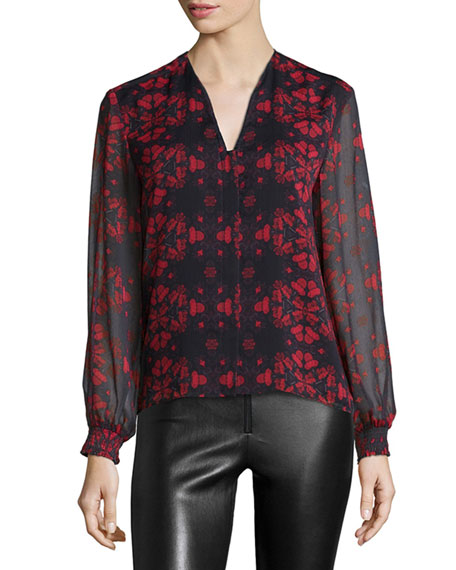 Alice + Olivia Cassandra Lotus-Print Chiffon Blouse, Black/Red