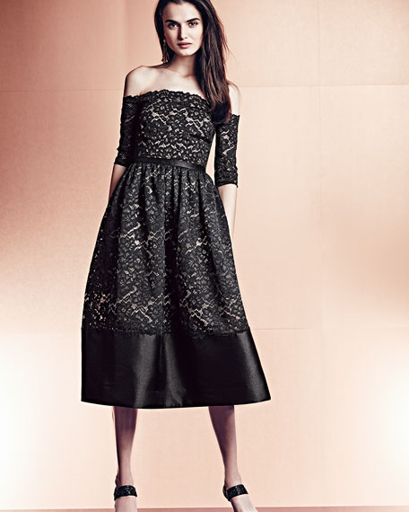 Monique Lhuillier Off-the-Shoulder Lace Cocktail Dress, Black/Nude ...
