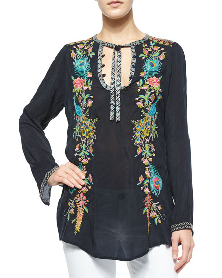 Long-Sleeve Peacock Embroidered Tunic