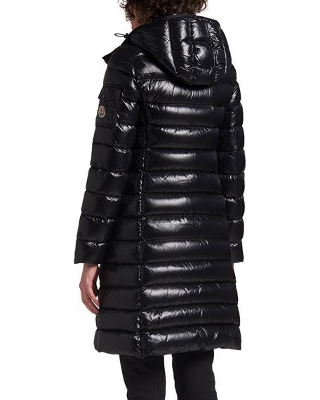8dc047e5dd49e2 Moncler Moka Shiny Fitted Puffer Coat with Hood | Neiman Marcus