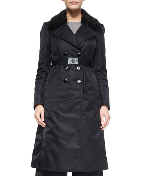 Moncler Sisteron Fur-Trim Trenchcoat, Black