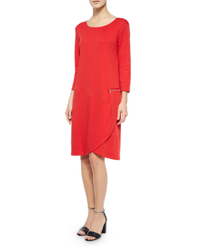 3/4-Sleeve Shift Dress W/ Zipper Detail, Petite