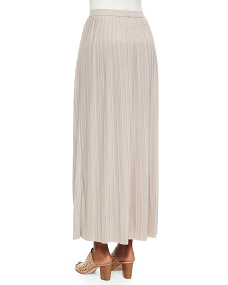 Joan Vass Plus Size Long Pleated Skirt