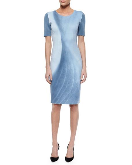 Elie Tahari Gwenyth Short-Sleeve Marble-Print Sheath Dress